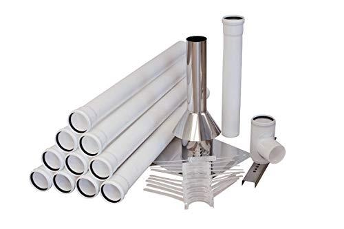 Kunststoff Komplettpaket - Abgasleitung in Ø 80 mm - 10 Meter für Brennwert - PPS Rohr für Schornstein - inkl. Edelstahl Abdeckung - max. 120 °C