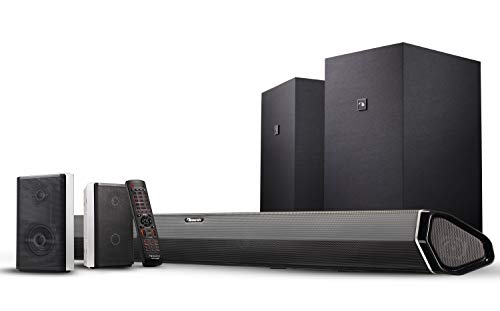 "Nakamichi Shockwafe Elite 7.2Ch DTS:X 800W 45-Inch Sound Bar System with Dual 8"" Subwoofers (Wireless) & 2-Way Rear Surround Speakers"