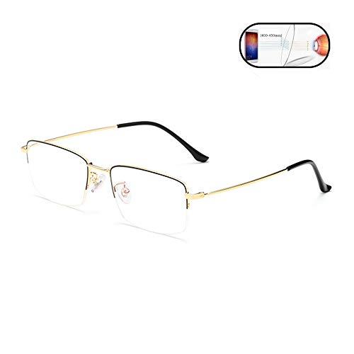 Fudeer Anti-Blu-Ray Lesebrille Männer, Ultra Light Beta-Titan Thin Halbbild Business Casual Presbyopie Brille,Gold,+1.25