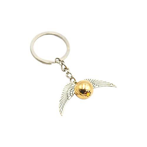 Jungle Lawer Llavero 3D con símbolo de Snitch dorado con alas de ángel, llavero de peltre para teléfono móvil, llave de coche para hombre y mujer, regalo de cumpleaños (plata envejecida)