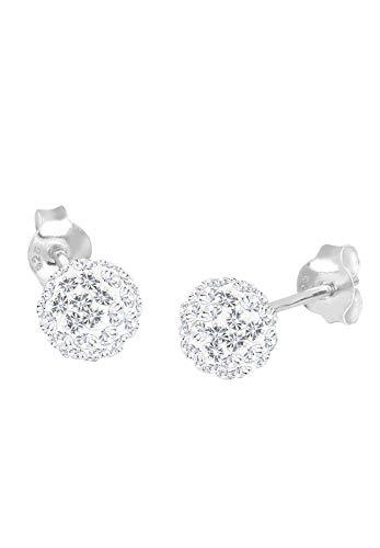 Elli Ohrringe Damen Ohrstecker Kugel Elegant mit Kristalle aus 925 Sterling Silber