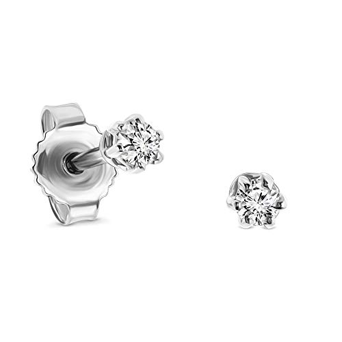 Miore 6 prong stud earrings in 14 kt 585 white gold with brilliant cut diamonds 0.12 ct