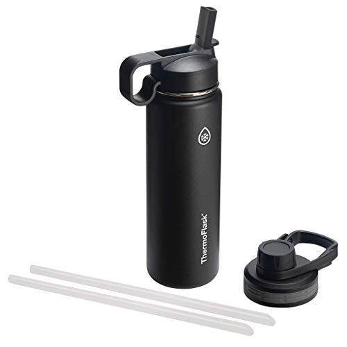 Thermoflask Double Stainless Steel Insulated Water Bottle, 24 oz, Black