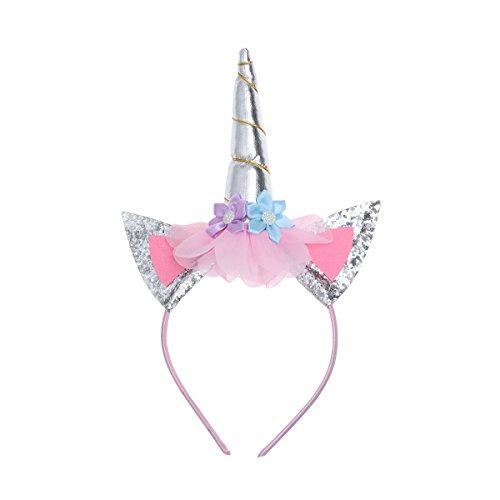 LUOEM Diadema Brillo con Cuerno de Unicornio Aro de Pelo para los niños Fiesta Disfraz Decoración (Plata)