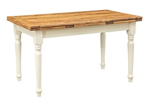 Ausziehbarer Tisch aus massivem Lindenholz – Landhaus-Stil – Gestell weiß antik, Platte natur 140 x 80 x 80 cm