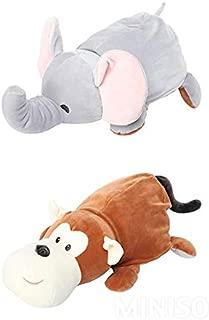 MINISO 2-in-1 40cm Transforming Plush Toy Stuffed Animal Kids Doll- Elephant Transform to Monkey