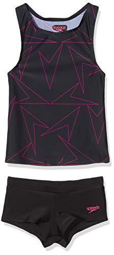 Speedo Girls Boomstar Tankini BlackElectric Pink 30 11 12 YRS