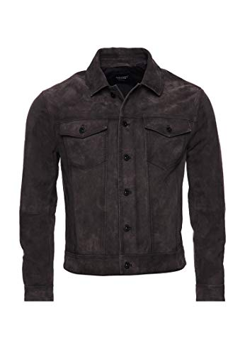 Superdry Uomo Giacca Trucker in Pelle Scamosciata Highwayman Washed Granite S