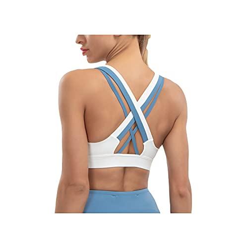 WLEI Sujetadores Deportivos para Mujeres Entrenamiento extraíbles Yoga Pilates Tank Tops,Azul,L