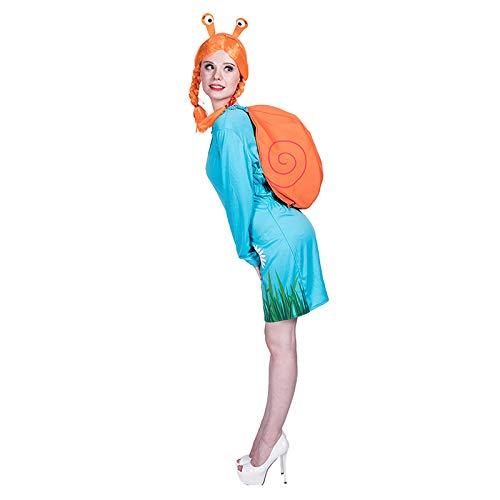 thematys Süße Schnecke 4-teilig Kostüm-Set für Damen - Haarband, Umhang, Perücke & Kleid perfekt für Halloween, Karneval & Cosplay - Einheitsgröße 160-175cm