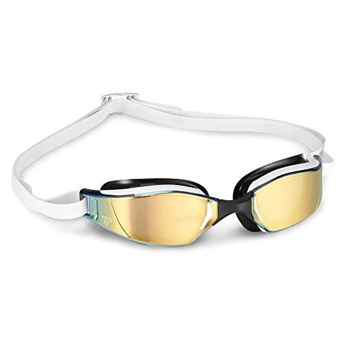 Phelps - MP XCEED Schwimmbrille, weiß schwarz/Gold Titanium verspiegeltes Glas, Einheitsgröße