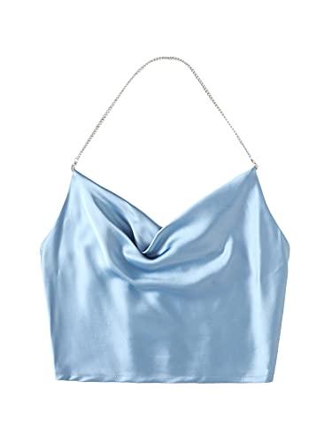 SheIn Women's Satin Chain Halter Neck Shirred Back Draped Crop Cami Top Light Blue M