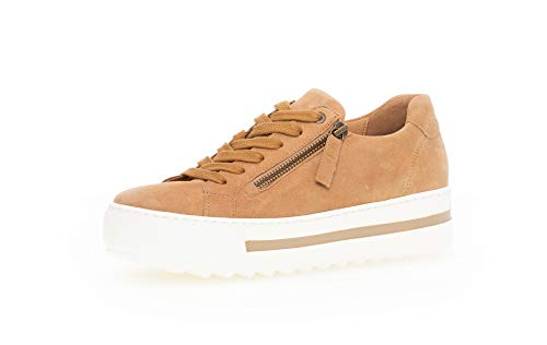 Gabor Damen Sneaker, Frauen Low-Top Sneaker,Comfort-Mehrweite,Reißverschluss,Optifit- Wechselfußbett, elegant Women's Women,Caramel,38 EU / 5 UK