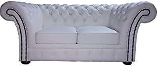 Casa Padrino Chesterfield sofá Genuino Cuero 2 plazas Blanco 170 x 90 x H. 80 cm - Colección