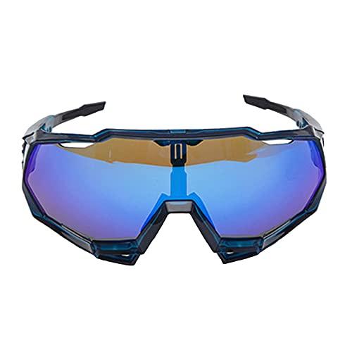 Zhixing Gafas Deportivas al Aire Libre Gafas para Montar en Bicicleta Gafas de Sol con protección Ocular para Motocicleta de Marco Completo,Transparent Blue,A