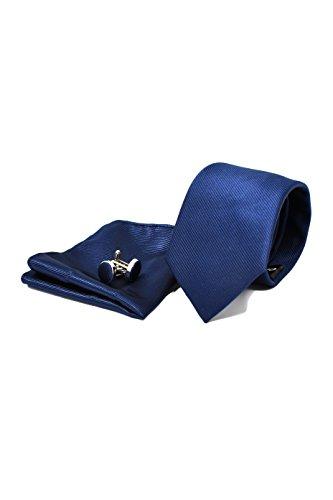 Corbata de hombre, Pañuelo de Bolsillo y Gemelos Azul Marino - 100% Seda - Clásico, Elegante y Moderno - (Caja y Conjunto de Regalo, ideal para una boda, con un traje, en la oficina...)