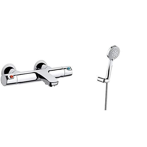 Roca A5A1118C00Termostato, cromo + StellaSet de ducha. incluye ducha de mano de 100 mm de 3 funciones, soporte de ducha articulado y flexi . Duchas y rociadores. Ref.A5B1C03C00