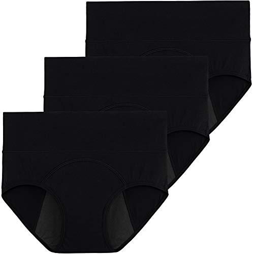 INNERSY Menstruation Unterwäsche Damen Baumwolle Perioden Slip Schwarz Unterhosen 3 Pack (38, Schwarz)