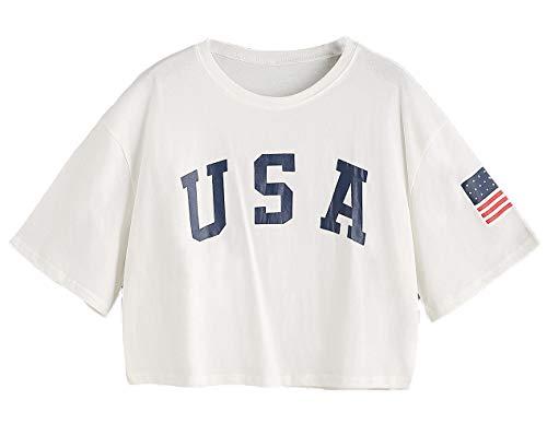SweatyRocks Women's Letter Print Crop Tops Summer Short Sleeve T-shirt Bright White L