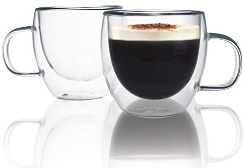 Juego de 2 tazas de café expreso Chase Chic de 6 onzas de vidrio de doble pared termo aisladas tazas de café en forma de corazón con asa