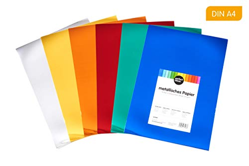 perfect ideaz 50 hojas cartulinas metalizadas de colores DIN A4, papel metalizado para manualidades, pliegos en 6 colores, 250 g/m², cartulina para hacer manualidades, set de hojas de colores