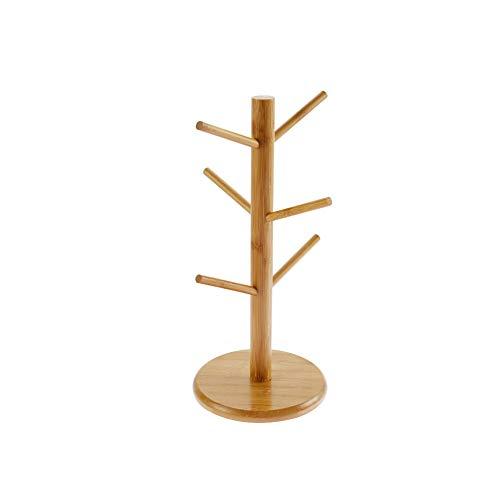 Soporte para 6 tazas de madera con alfombrilla antideslizante, apto para colgar tazas, tazas de café y vasos, 16 x 16 x 35,2 cm