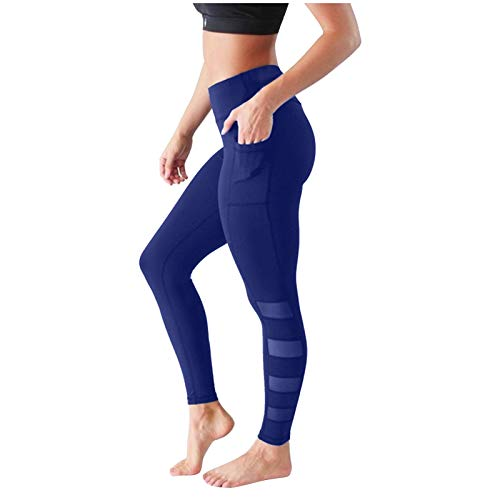 Xmiral Yoga Hosen Damen Hohe Taille Taschen Leggings Drucken Training Fitness Sport Laufen Sportlich Hosen(d-Blau,XL)