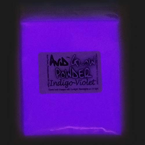 Indigo Violet Glow Powder -Neutral in Daylight .53oz (15g); - Glow in The Dark Pigment Powder for Resin, Slime, Nail Polish, Paints, Coatings, Acrylic Powder; Premium Encapsulated Strontium Aluminate