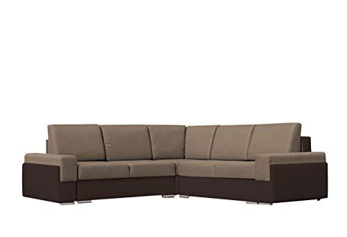 mb-moebel Großes Ecksofa mit Schlaffunktion Eckcouch mit Zwei Bettkasten Sofa Couch Wohnlandschaft L-Form Polsterecke Bruno III (Beige + Braun)
