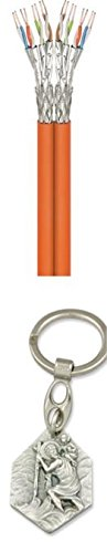 Zisaline-Kombi Cavo di Rete Duplex Cat 7A, S/FTP (PiMF), Arancione, 500 m - CU, AWG 23/1 (Solido), LSZH (93198891892) con Ciondolo Hlg. Cristoforo