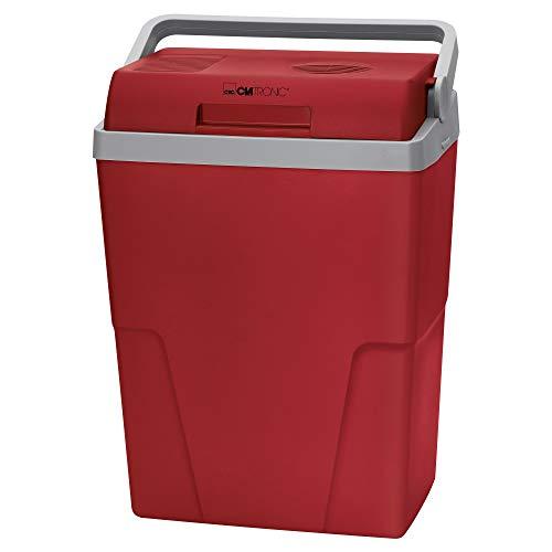 Clatronic KB 3713 Kühlbox ECOSAVE // Ideal für Camping, Reise und Einkauf // 12 Volt und 230 Volt-Anschlusskabel // kühlt bis zu 18°C unter Umgebungstemp. // ca. 25 L // rot-grau