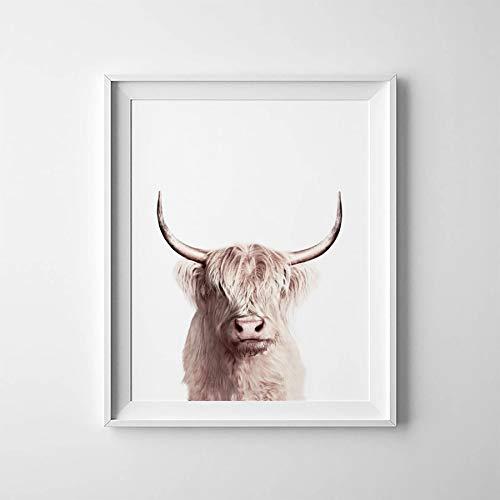 N / A Animal Buffalo Poster Leinwand Malerei Wandkunst Dekor, Bison Art Leinwanddruck Moderne Tiere Wandbild Home Decoration 50x70 cm No Frame