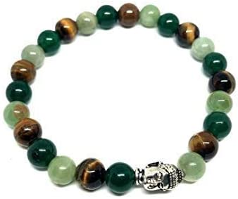 Divine Elements Exclusive Wealth, Prosperity and Success Gemstone Bracelet with Green Aventurine, Tiger Eye and Green...