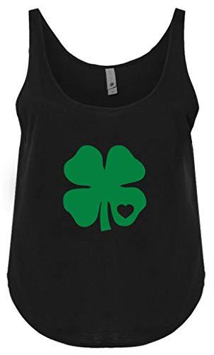 Camiseta regata solta com trevo do Dia de São Patrício, sem mangas com trevo, Trevo de coração preto, S