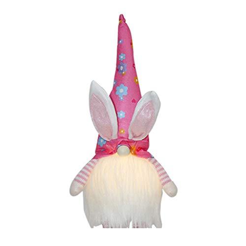 Wr Gnomo de Conejito de Pascua con luz LED, Juguetes de Peluche de Conejo Tomte de Felpa Hechos a Mano suecos, Adornos de muñecas, decoración de Fiesta en casa de Vacaciones