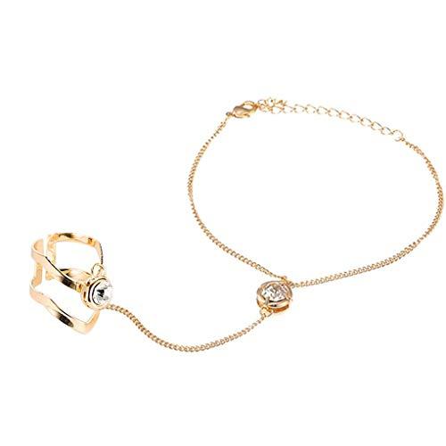 forbestest Manera de moda de la mano pulsera de cadena y el anillo de dedo joyería de la boda de cristal pulseras esclavas mujeres del brazalete de novia