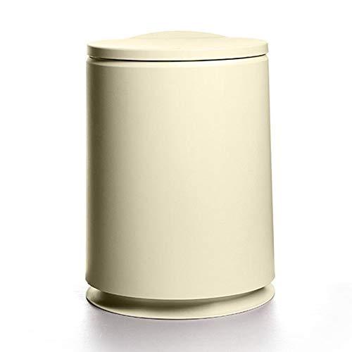 Xcwsmdq Mülleimer Kreative Pressen Rund Abfalleimer aus Kunststoff Flip-Cover Double-Layer Abfallbehälter Mini Staub Bin Nordic Haushalt Reinigungs-Tools Reinigungsmittel (Color : Khaki 10L)