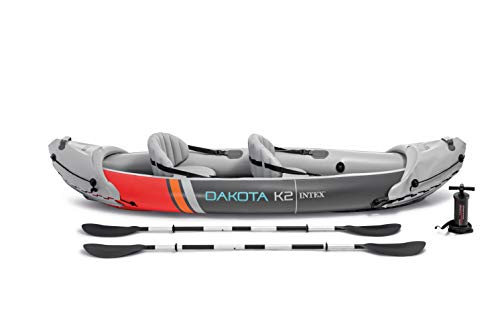 Intex 68310VM Dakota K2 2-Person Heavy-Duty Vinyl Inflatable Kayak with 86-Inch Oars and Air Pump, Gray & Red