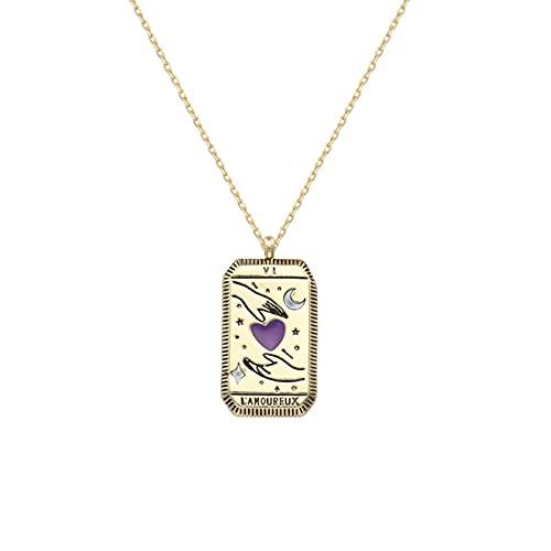 QIN 2021 Collar con Colgante de Carta de Tarot esmaltado Colorido para niña Creativa, Chapado en Oro, Cuadrado, Luna, Sol, Mundo, Amor, Poder, Collar de Pareja