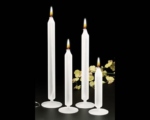 Northwest Glass Stunning Frosted Glass Oil Candle, with base, all one piece. No Holder Necessary Taper Candle 12¨ Pair