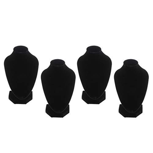 non-brand 4X Collar de Terciopelo Negro Busto Exhibición de Joyas Figura de Soporte 5.91x3.94 ''