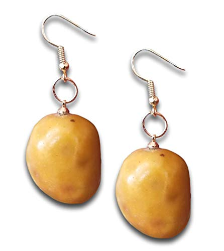 Large 3D Novelty Lightweight Potato Vegetable Dangle Drop Earrings by Pashal