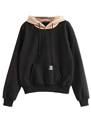ZAFUL Kontrastfarbe Damen Hoodie Kapuzenpullover Langarm Pullover Sweatshirt mit Tasche Schwarz M
