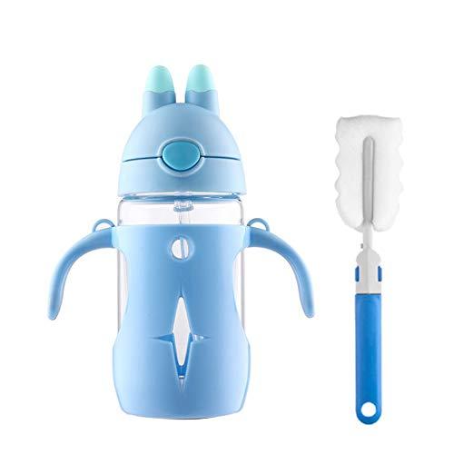 Botella de agua para niños con pajita, cristal de borosilicato Manstro con...