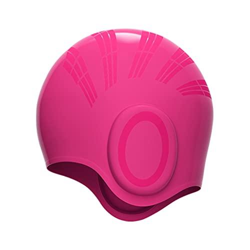 Sharplace Sombrero de natación de Pelo Largo Gorro de baño Flexible de Alta Elasticidad para Mujer Fácil de Poner y Quitar - Rosa roja
