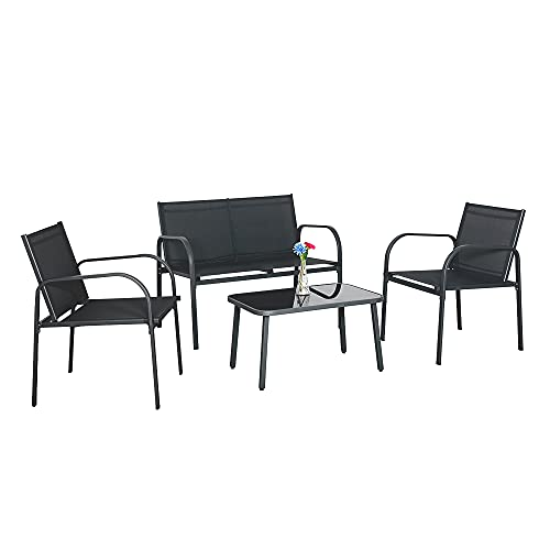 Panana Garden Furniture Set 4 Piece Outdoor Set Tempered Glass Top Coffee Table Chairs with Steel Frame Conversation Balcony Backyard Patio Black