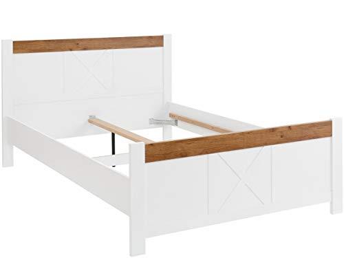 Loft24 A/S Bett Bettgestell Bettrahmen Holzbett Doppelbett Landhausstil Schlafzimmer MDF weiß-eichefarben (140 x 200 cm)