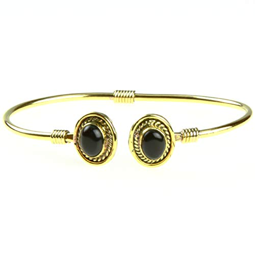 Chic-Net Messing Brass Armreif golden oval Seilmuster Onyx nickelfrei verstellbar antik Tribal Schmuck