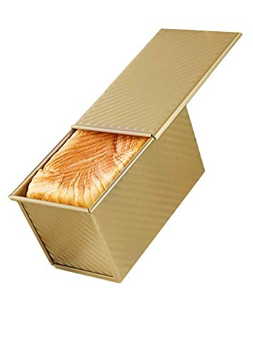 DOYOLLA Pullman Loaf Pan with lid, Non-stick Bread Toast Box Bake-ware For Professional & Home Bakers - Gold/0.99 Lb Capacity