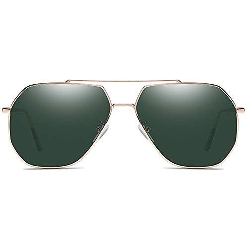 CEyyPD Gafas de sol clásicas de metal UV400 con montura dorada y lentes verdes oscuras para hombre polarizadas